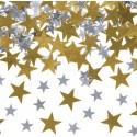 KONFETTI gwiazdki złoto-srebrne