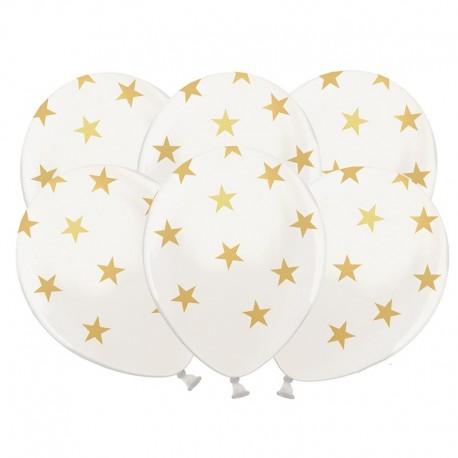 BALONY białe w gwiazdki 6szt