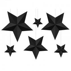 DEKORACJA Papierowe Gwiazdy CZARNE 6szt