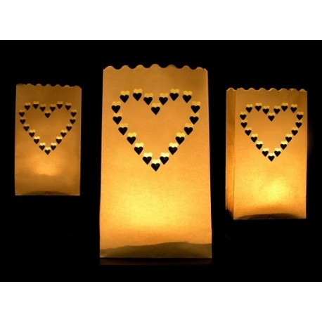 LAMPIONY torebki na świece serca 10szt