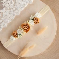 OPASKA na główkę z Różami krem i brąz (P004)