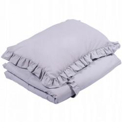 POŚCIEL do łóżeczka z falbanką 120x90cm Jasnoszary