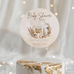 TOPPER na tort Baby Shower Boho z łabędziem Z IMIENIEM