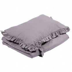 POŚCIEL do łóżeczka z falbanką 100x135cm Ciemnoszary