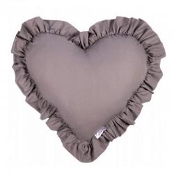 PODUSZKA w kształcie serca z falbanką Ciemnoszara