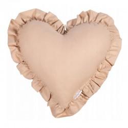 PODUSZKA w kształcie serca z falbanką Beżowa