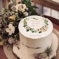 OPŁATEK na tort Chrzest Serce i białe kwiaty Z IMIENIEM Ø20cm