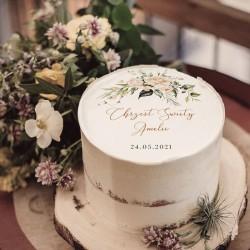 OPŁATEK na tort Chrzest Botaniczne białe kwiaty Z IMIENIEM Ø20cm