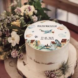 OPŁATEK na tort Roczek Chłopięcy Świat Z IMIENIEM Ø20cm
