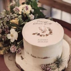 OPŁATEK na tort komunijny Boho Akwarela Z IMIENIEM Ø20cm