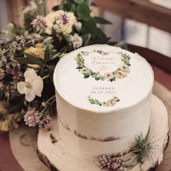 OPŁATEK na tort komunijny Serce i białe kwiaty Z IMIENIEM Ø20cm