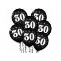 BALONY na 30 urodziny z białym napisem 6szt CZARNE