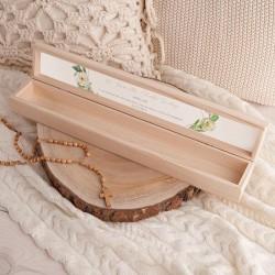 PUDEŁKO drewniane na świecę do Chrztu Z IMIENIEM Botaniczne Serce