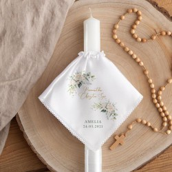 OKAPNIK na świecę profitka do Chrztu Z IMIENIEM Białe Kwiaty