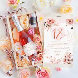 PREZENT na 18 Wino musujące w kwiatach Luxury 750ml RÓŻOWY