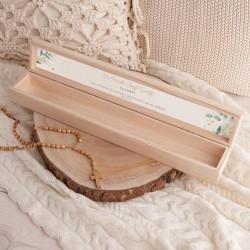 PUDEŁKO drewniane na świecę do Chrztu Z IMIENIEM Gałązka Eukaliptusa NEW