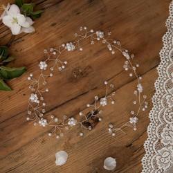 GAŁĄZKA ślubna do włosów Perłowe Kwiatki (013)