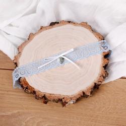 PODWIĄZKA ślubna koronkowa z serduszkiem błękitna 24