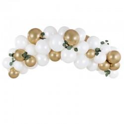 GIRLANDA balonowa zestaw 60 balonów+taśma Biało-złota