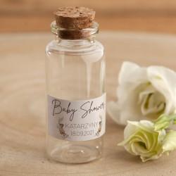 BUTELECZKI szklane z korkiem podziękowania dla gości na Baby Shower Z IMIENIEM Boho 12szt