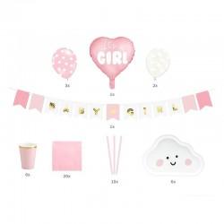 ZESTAW dekoracji na Baby Shower RÓŻOWY It's a girl