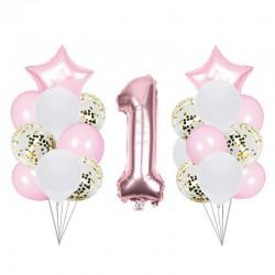 ZESTAW balonów na Roczek dla dziewczynki bukiet 22elementy