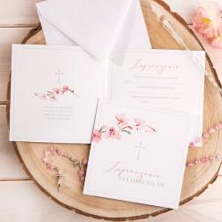 ZAPROSZENIA komunijne dla dziewczynki Różowe 10szt (+koperty)