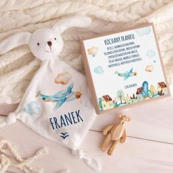 PREZENT na Baby Shower dla dziecka Przytulanka Z IMIENIEM w pudełku Samolocik