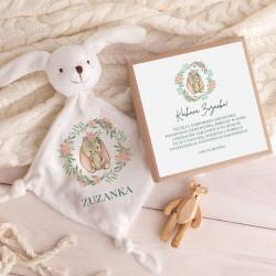 PREZENT na Baby Shower dla dziecka Przytulanka Z IMIENIEM w pudełku Zajączek