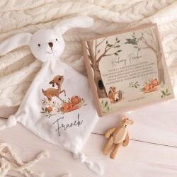PREZENT na Baby Shower dla dziecka Przytulanka Z IMIENIEM w pudełku Leśne Zwierzątka