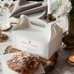 PUDEŁKA na ciasto z rączką na Ślub Z IMIENIEM Złote Serce 12szt