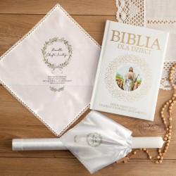 ZESTAW na Chrzest Święty Uniwersalny Lily of The Valley świeca+chusteczka+Biblia 10% taniej