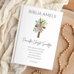 BIBLIA Pamiątka Chrztu Świętego Z IMIENIEM DUŻA Drewniany Krzyż