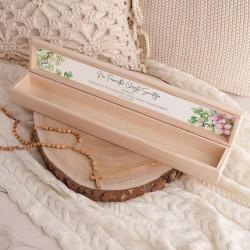 PUDEŁKO drewniane na świecę do Chrztu Z IMIENIEM Drewniany Krzyż