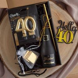 PREZENT na 40 urodziny czarny BOX z IMIENIEM wino+świeczka LUX