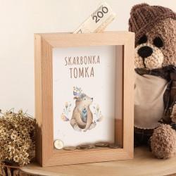 SKARBONKA drewniana na prezent z szybką Z IMIENIEM Boho Niedźwiadek