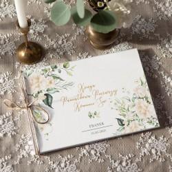 KSIĘGA Pamiątkowa na Komunię Białe Kwiaty Z IMIENIEM (+jutowy sznurek)