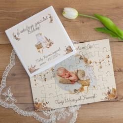 GRATULACJE dla Dziadków PUZZLE w pudełku na Narodziny 35el Boho