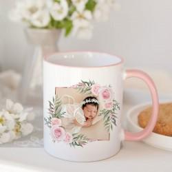 KUBEK podziękowanie dla Chrzestnych/Dziadków ZE ZDJĘCIEM różowy