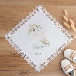 CHUSTECZKA do Chrztu z gipiurą LUX z imieniem i datą Białe Kwiaty