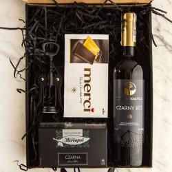 PREZENT na Rocznicę Ślubu Z PODPISEM Wino i Merci CZARNY