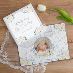 PODZIĘKOWANIE dla Chrzestnych/Dziadków Chrzest Puzzle ZE ZDJĘCIEM 35el Błękit