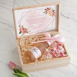 PREZENT na Dzień Matki wino kryształowe w skrzyni Rosegold LUX