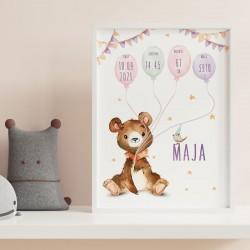 METRYCZKA dziecka w ramie A4 Z IMIENIEM Miś z balonikami