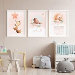 PLAKATY do dziecięcego pokoju ZE ZDJĘCIEM DZIECKA w ramie A4 Różowy Lisek 3szt