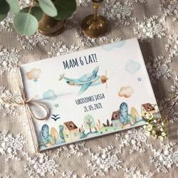 KSIĘGA Pamiątkowa na Urodzinki chłopca Pastelowy Samolot Z IMIENIEM (+jutowy sznurek)