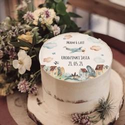 OPŁATEK na tort na Urodziny chłopca Pastelowy Samolot Z IMIENIEM Ø20cm