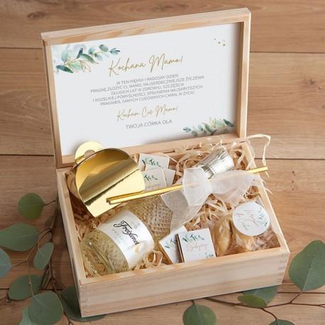 PREZENT na Dzień Matki w skrzyni Z PODPISEM Prosecco Eukaliptus LUX