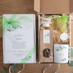 PREZENT na 18,30,40 urodziny Z IMIENIEM Eukaliptusowy BOX z kubkiem