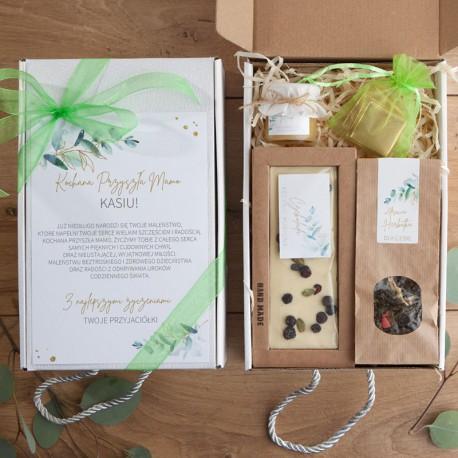 PREZENT na Baby Shower dla Mamy Z IMIENIEM Gałązka Eukaliptusa z czekoladą